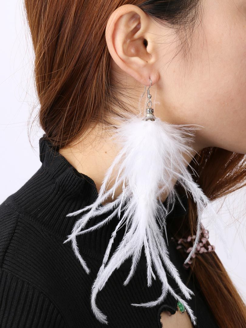 Shop White Faux Feather Drop Earrings from choies.com .Free shipping Worldwide.$7.99