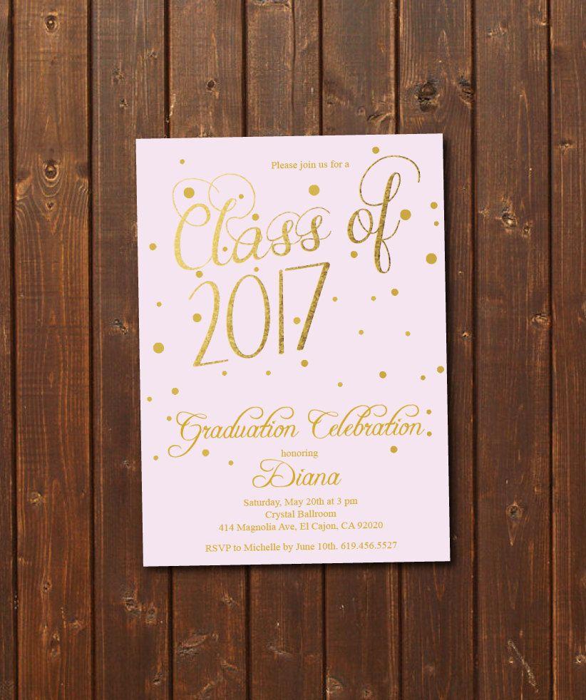 pink gold class of 2018 graduation invitation card graduation