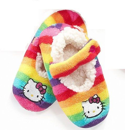 946be3570 Hello Kitty Embroidered Rainbow Fuzzy Babba Slipper Socks Women`s Medium/  Large for only $11.95