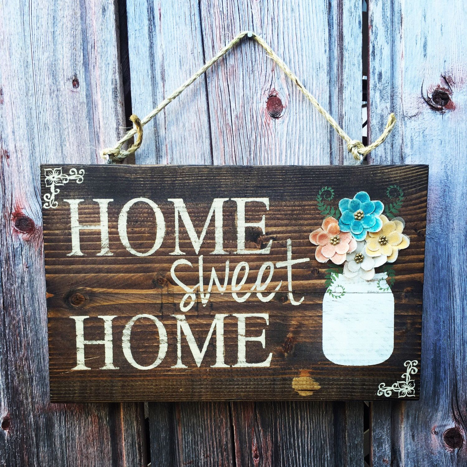 Home Sweet Home Outdoor Painted Mason Jar - Wood Signs - Front Door Sign - Rustic Home Decor - Wedding Gift - Housewarming - Home Decor by RedRoanSigns on Etsy https://www.etsy.com/listing/461996376/home-sweet-home-outdoor-painted-mason