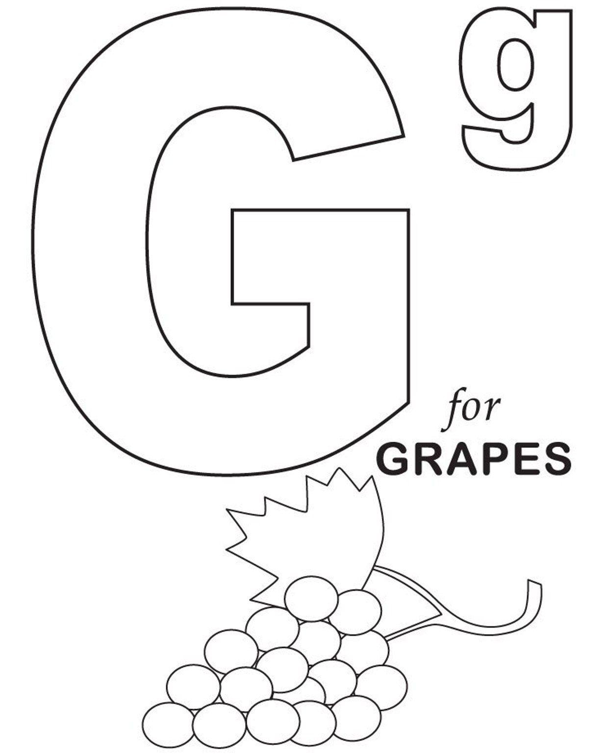 Grapes Fruit Coloring Pages Alphabet Alphabet Coloring Pages