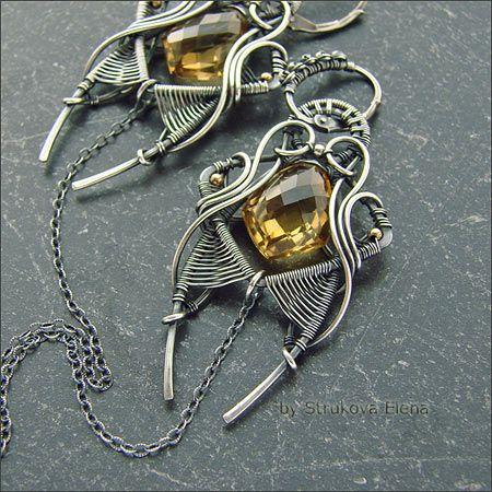 Strukova Elena - author's jewelry - earrings with quartz Wicker