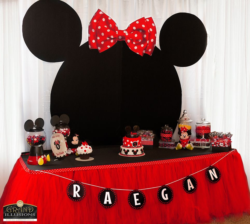 Minne Mouse dessert table.  We custom made the eight ft tall head/ears.  We also handmade the 8ft red tutu skirt for this unique dessert table.  Cake, cake pops and candy jars made up this beautiful table.