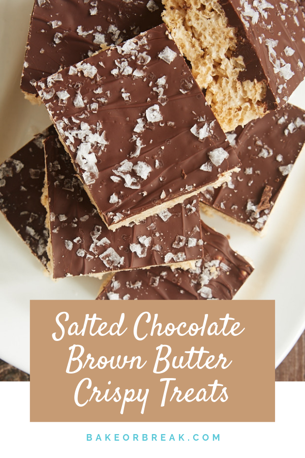 Salted Chocolate Brown Butter Crispy Treats #crispytreats