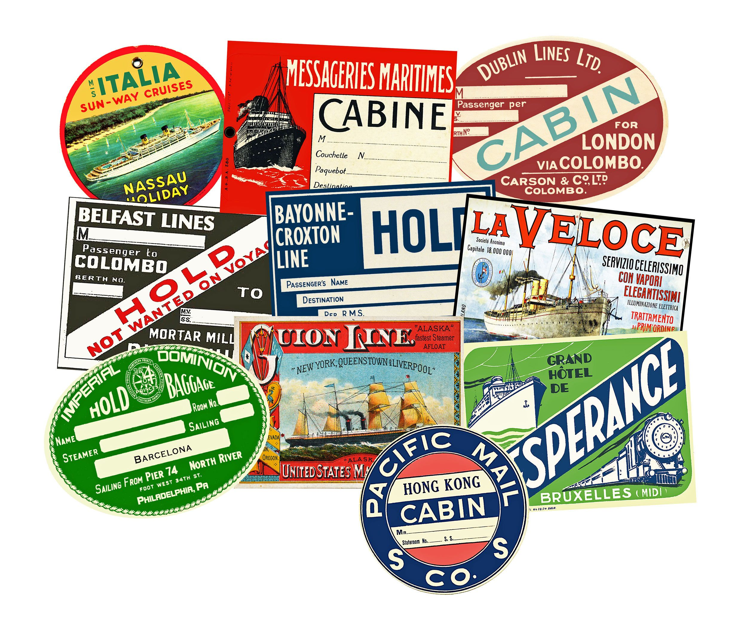 10 Luggage Labels Miniature 2 5 Wide Stickers Colorful Steamship Baggage Tags Steam Trunk Label Suitcase Luggage Labels Sticker Photo Paper Sticker Labels [ 2115 x 2500 Pixel ]