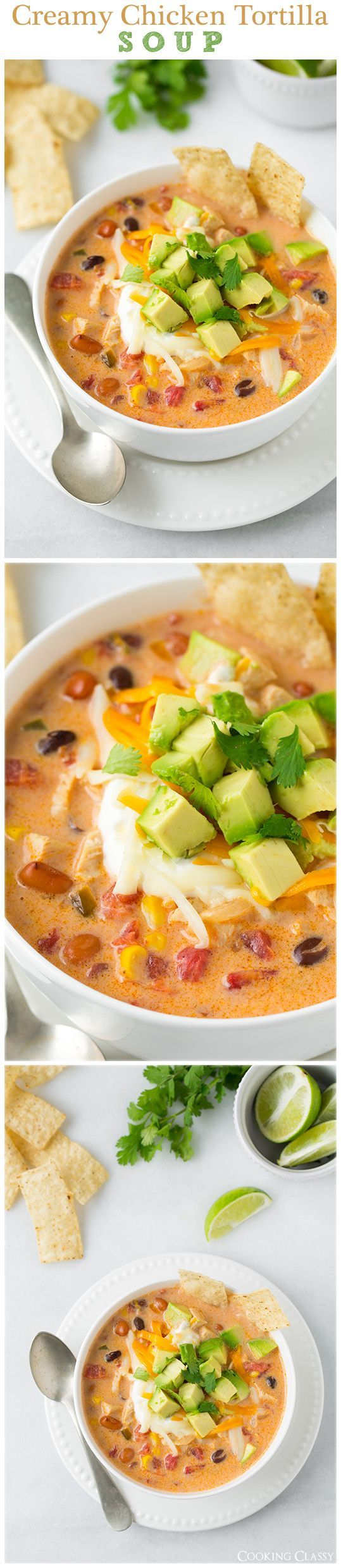 Creamy Chicken Tortilla Soup. A hearty, warming and comforting soup made with juicy chicken, vegetables and loaded with delicious toppings.