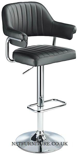 Vibe Retro Style Adjule Bar Stool With Padded Faux Leather Seat Polished Chrome