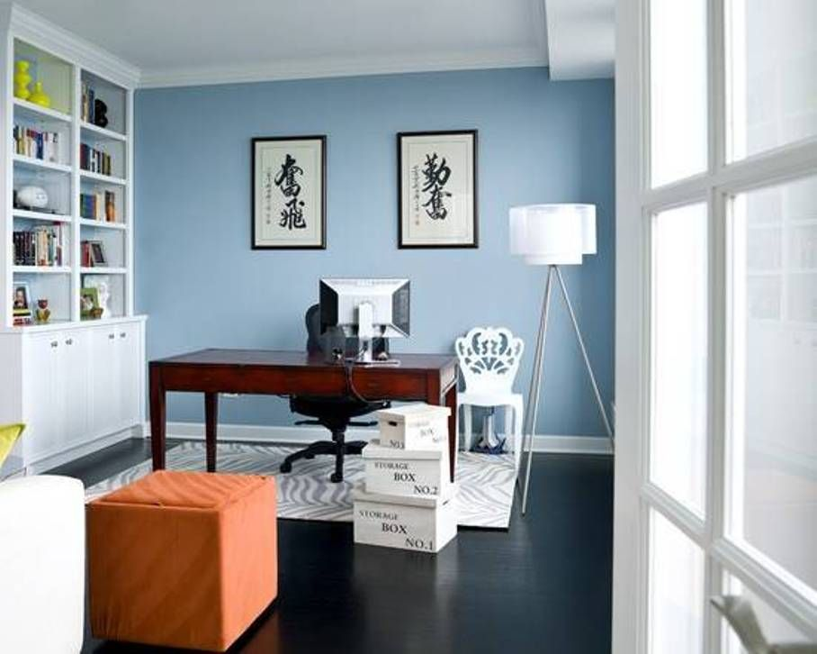 feng shui office design office. Home Office , Good Feng Shui : With Blue Walls And Bookshelves Wooden Desk Tripod Floor Lamp Zebra Printed Rug Design
