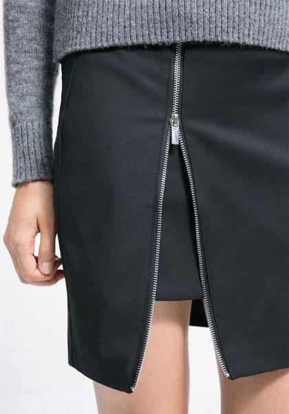 Black Zip Skirt - Zip Design At Front