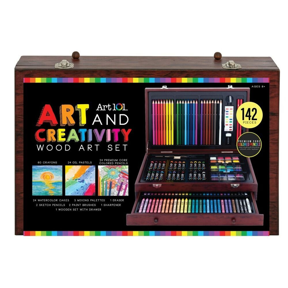 142 Piece Wood Painting Sketching Drawing Box Kit By Art 101