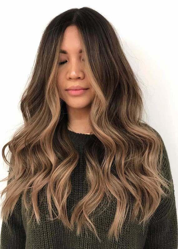 Einzigartige sonnengeküsste Brünette-Haarfarbe für 2018, #BrünetteHaarfarbe #Einzigartige #f...
