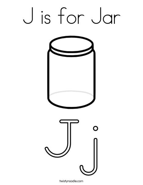 J Is For Jar Coloring Page Twisty Noodle Coloring Pages Jar