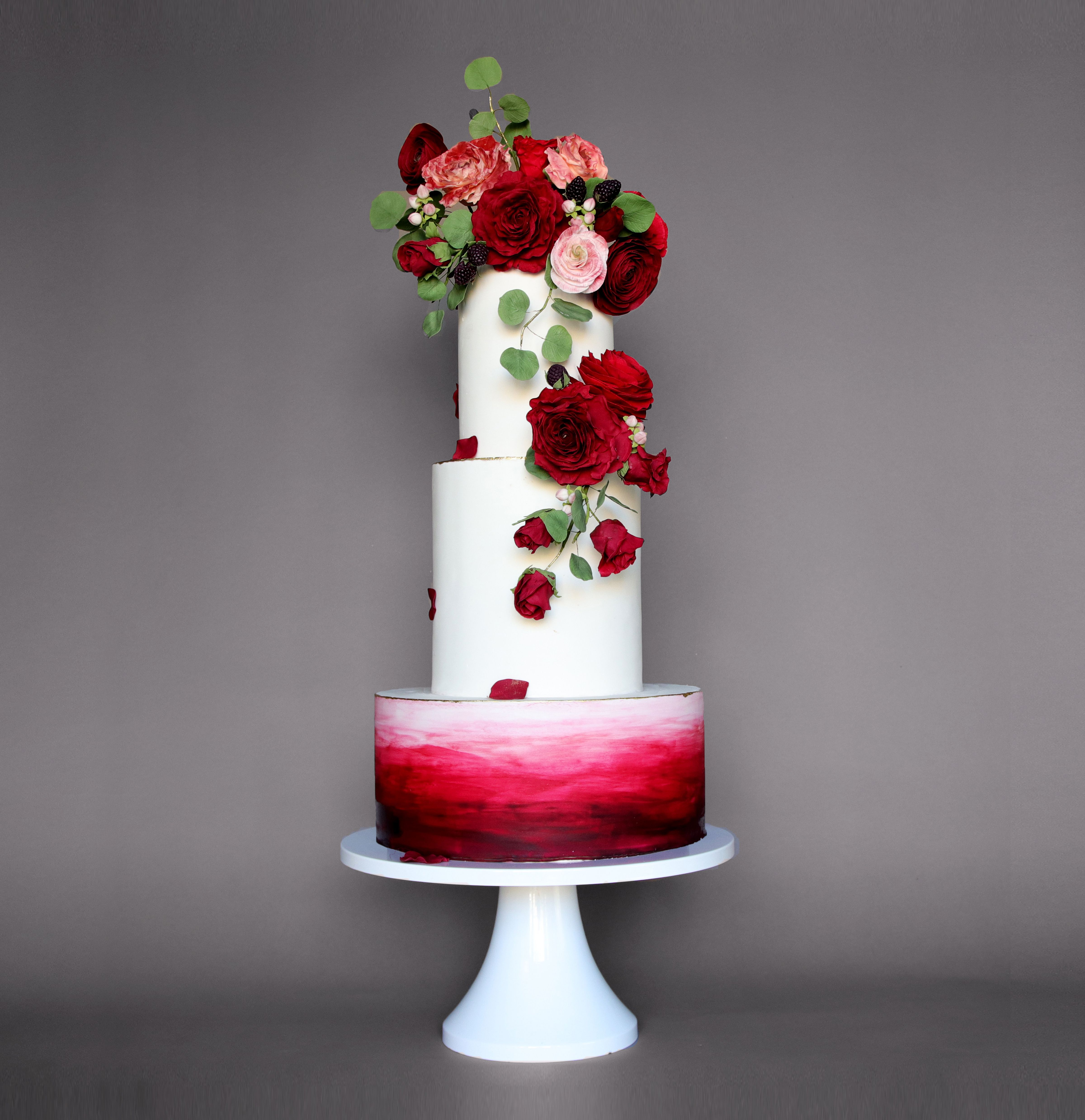 Red And Black Wedding Cakes Ideas: Red And Black Watercolor Ombre Wedding Cake By Sona