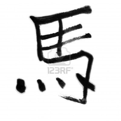 horse, traditional chinese calligraphy art isolated on white
