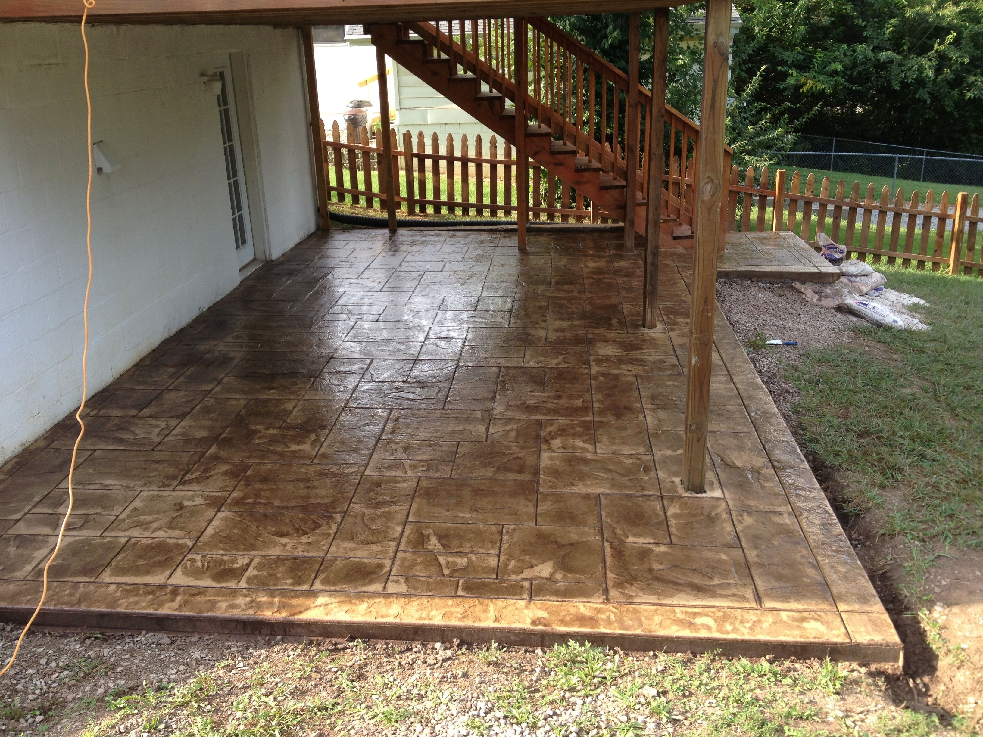 Stamped Concrete Patio Under Deck