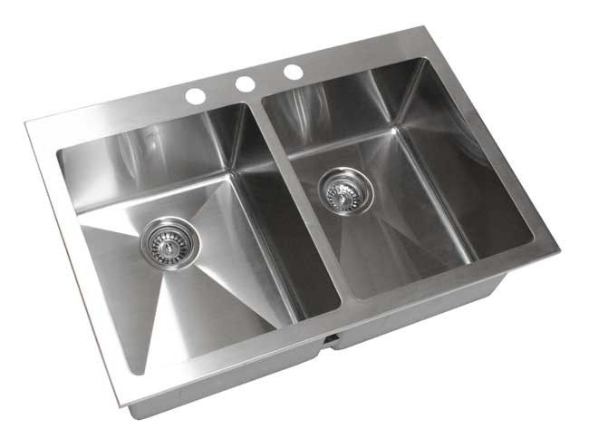 33 Inch Top Mount / Drop In Stainless Steel Double Bowl Kitchen Sink 15mm
