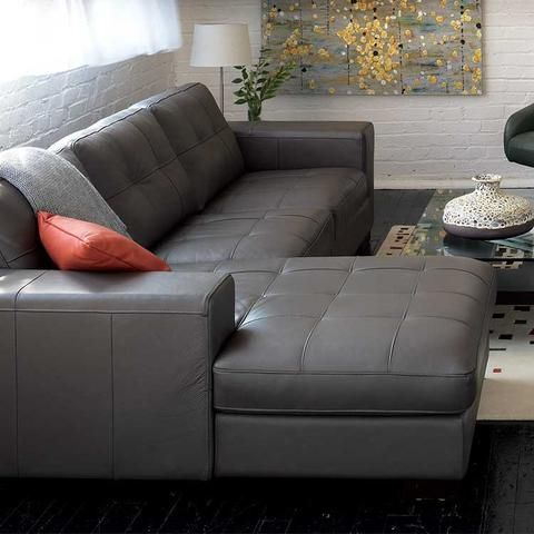 Lucca Leather Sectional Grey Leather Sofa Living Room Grey Sectional Sofa Grey Leather Sofa