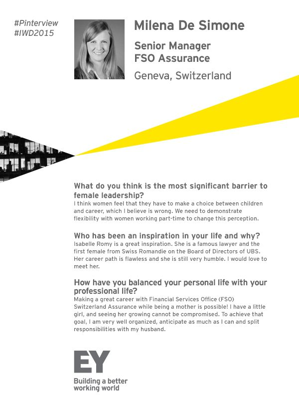 Read our #IWD2015 #Pinterview with Senior Manager for #EY