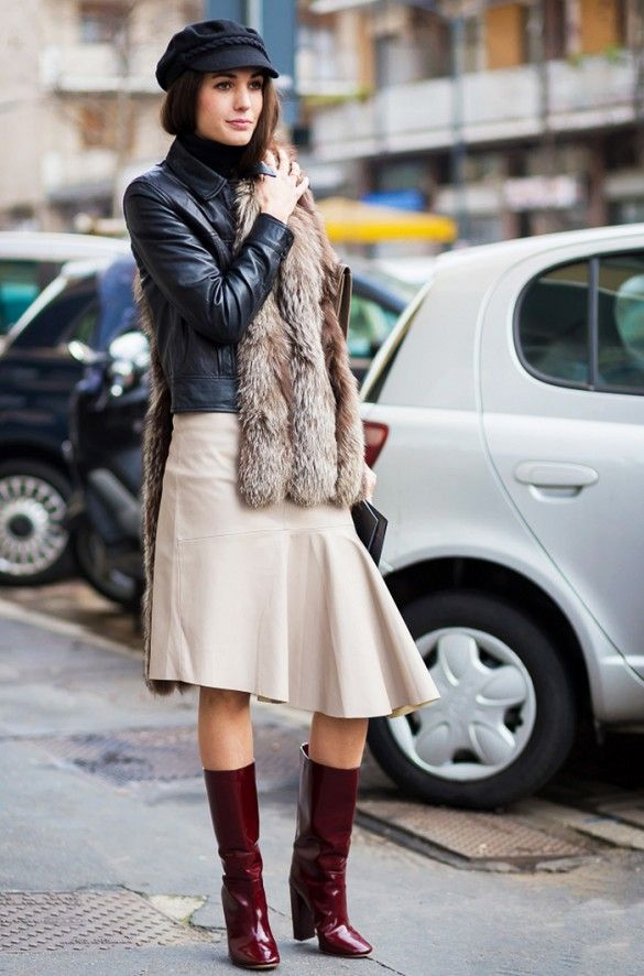 Leather jacket with pleated skirt and patent boots