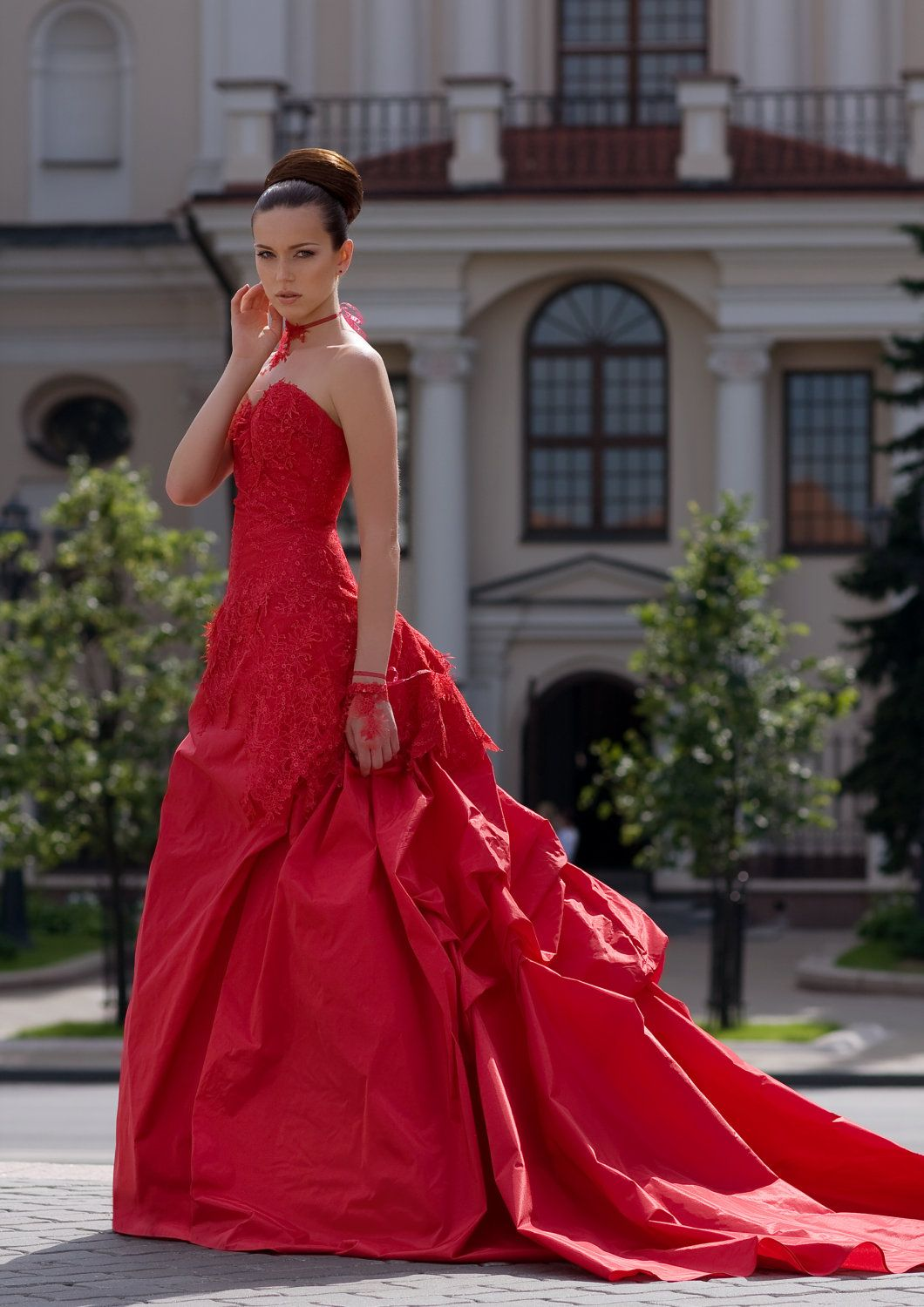 Vera wang red wedding dress  Fascinate red wedding dress with lace and by EdelweissBride