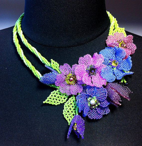 Pattern and photo tutorial for beaded floral necklace - OOAK artisan ...