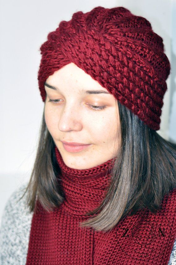 515e324c27681 Turban. Knitted turban hat and scarf. Wool turban hat. Headwrap turban.  turban hat. Knitted turban.