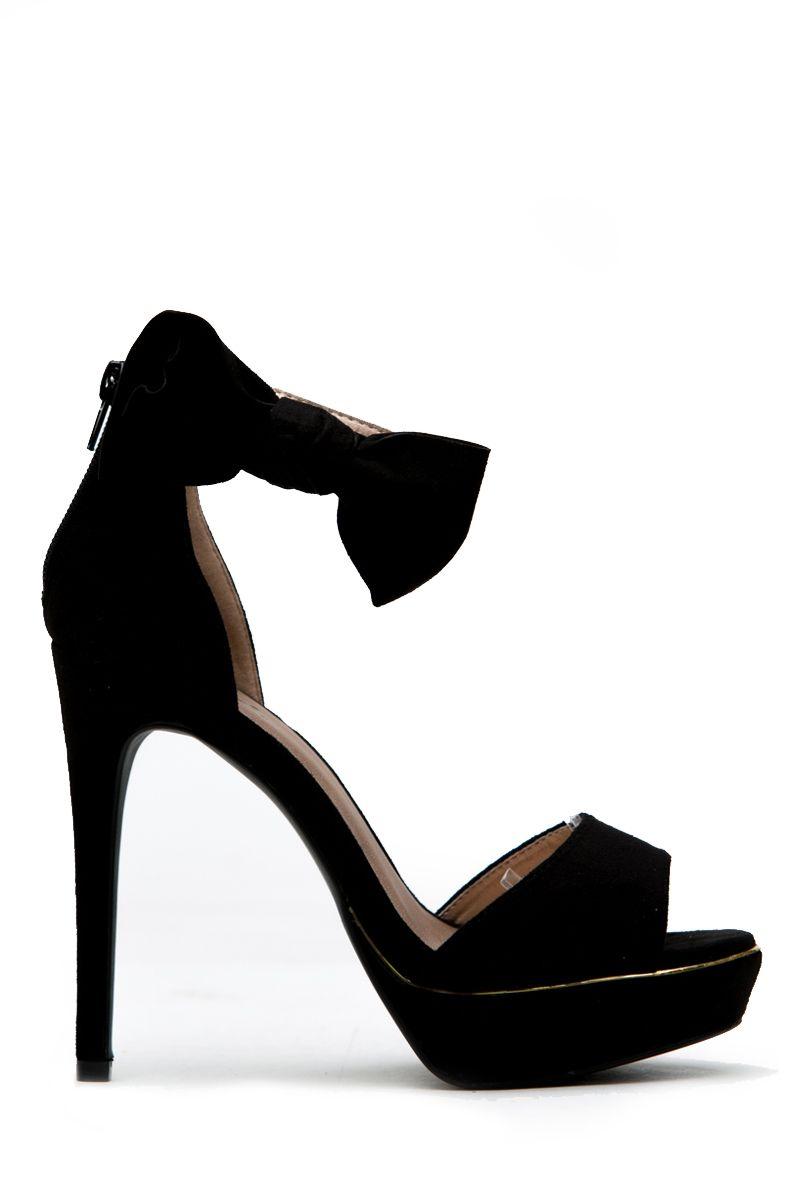 a188276ede6 Black Faux Suede Open toe Bow Ankle Strap Platform Heels @ Cicihot ...