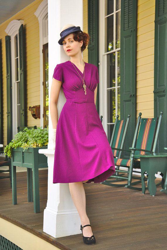 30s style purple rayon dress, size 6 / lindy hop dress / vintage ...