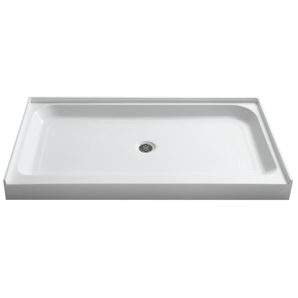 Anzzi Tier 36 In X 60 In Single Threshold Shower Base In White
