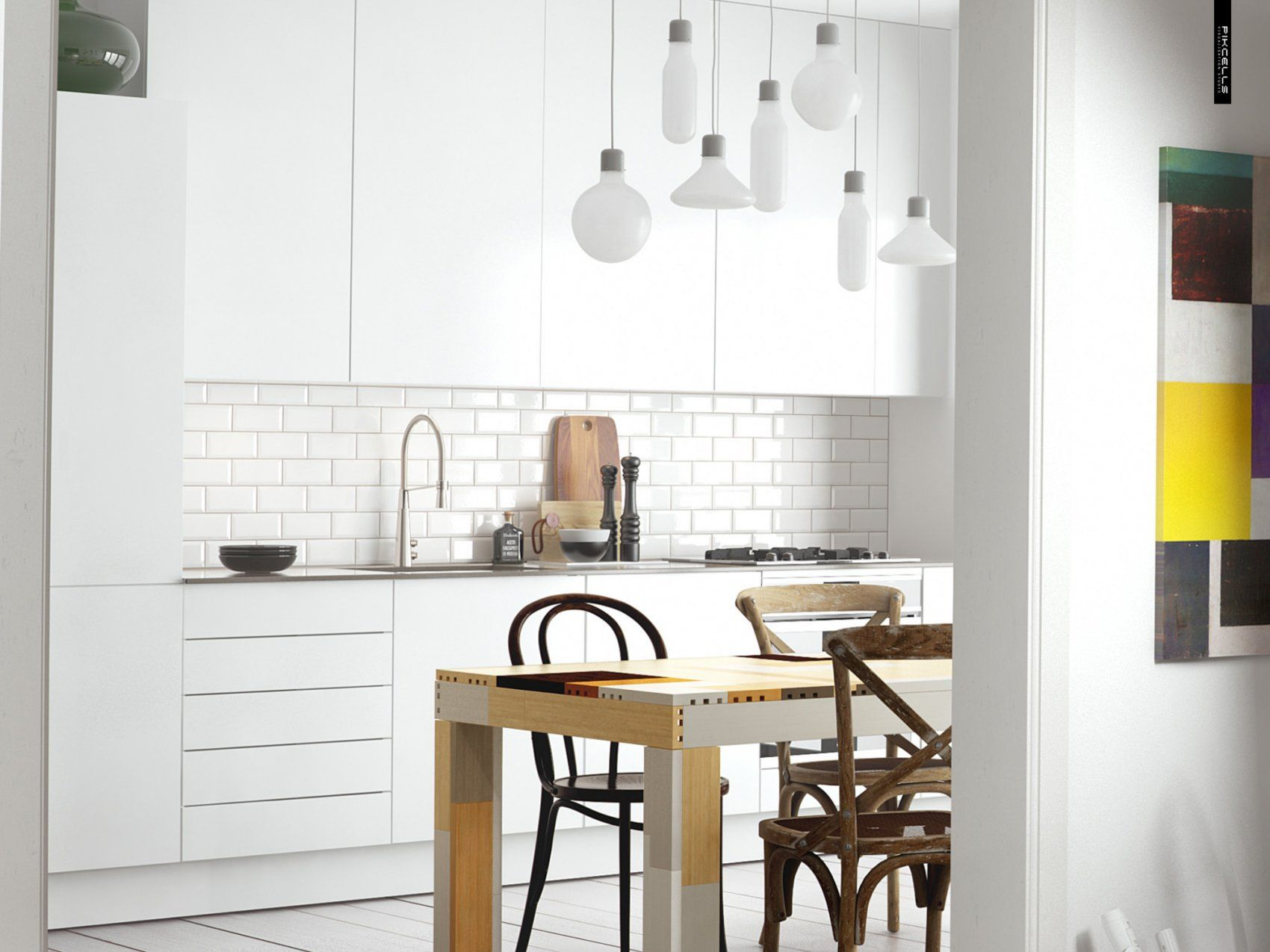White scandinavian kitchen by pikcells visualisation for Modern scandinavian kitchen design