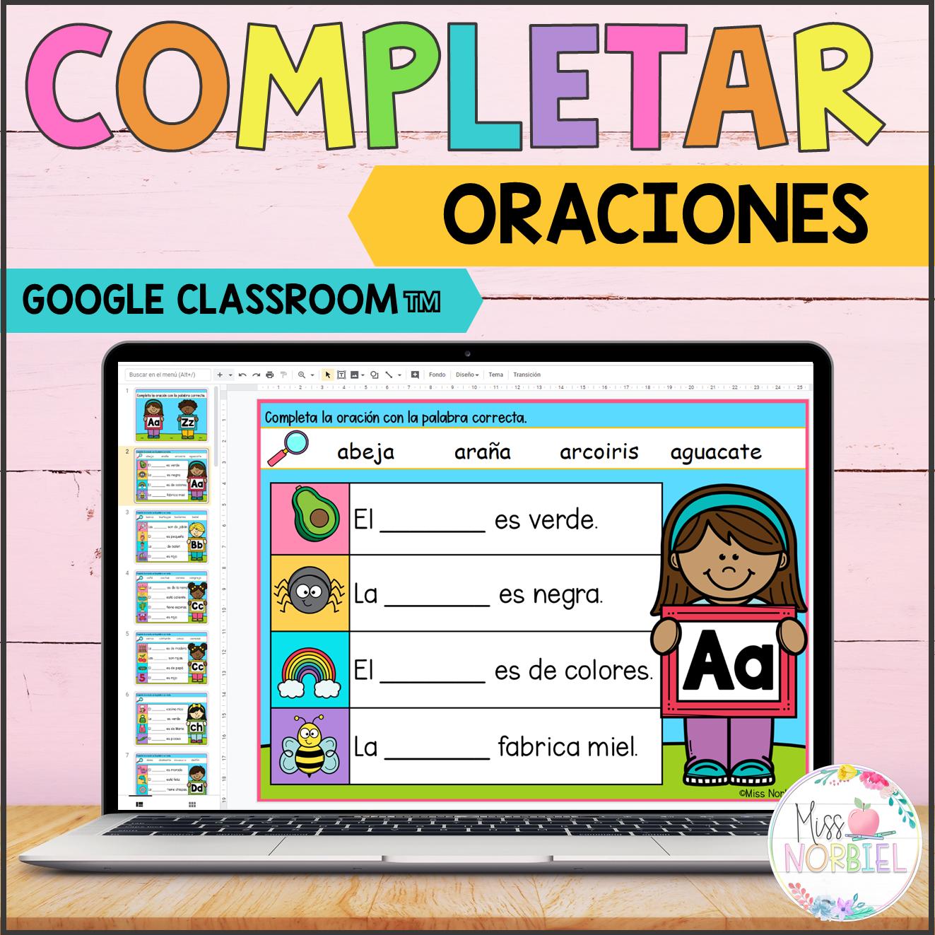 Completar Oraciones Para Google Classroom Completa La Oracion Complete The Sentence In Spanish Google Classroom Teacher Resources Sentences