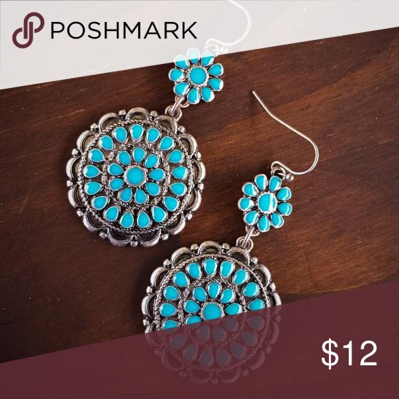 Silver & Turquoise Earrings Brand new silver & turquoise enamel flower dangle earrings. Tribal, Southern, boho, gypsy, southwest, cowgirl style. Jewelry Earrings