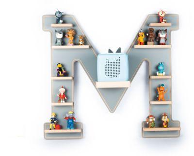 Wandregal die Hörspielbox Buchstabe M, grau Kinder
