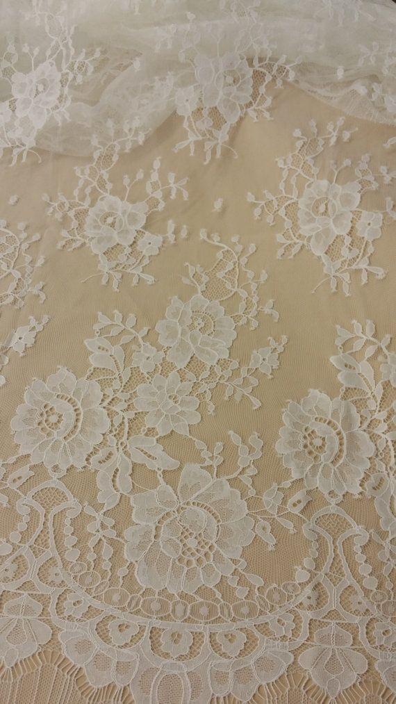 Bridal lace Wedding Lace White Lace Veil lace Scalloped Floral lace Lingerie Lace L22822 Chantilly Lace SALE Ivory lace fabric French Lace