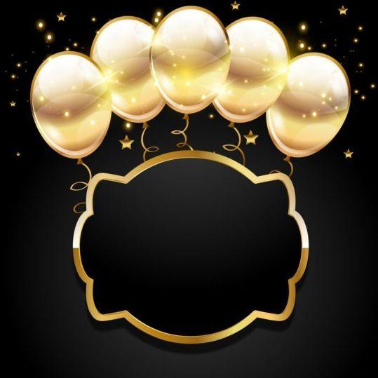 Golden Balloon With Black Birthday Background 03 Papel De Parede