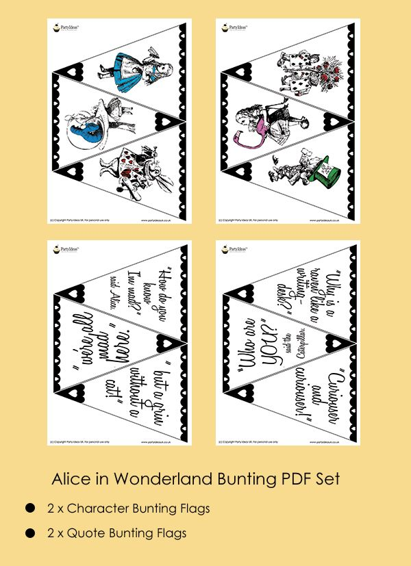 Mad Hatter Tea Party Ideas Alice in Wonderland Bunting | Mad ...