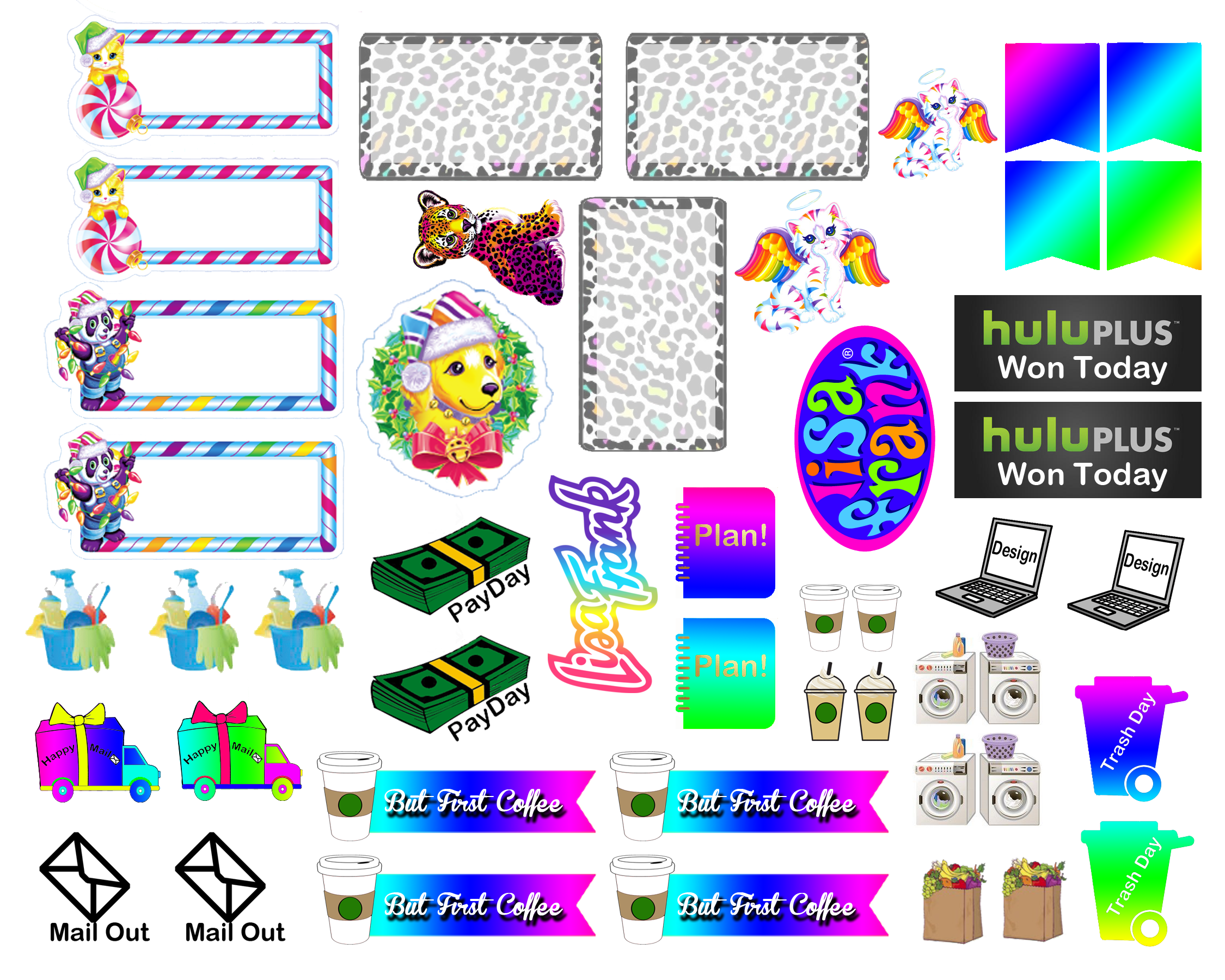 Sticker kit lisa frank functional sheet the happy planner by mambi sticker free printable sticker layout may be subject to copyright not intended for
