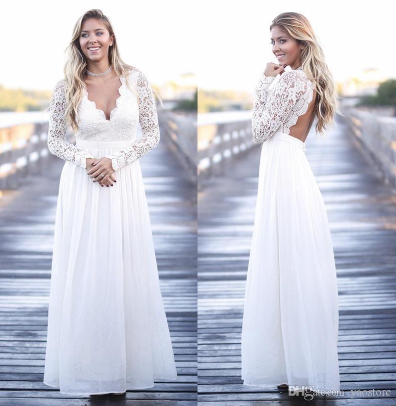 2017 Wedding Dresses Plus Size Long Sleeve France Lace Boho Bridal