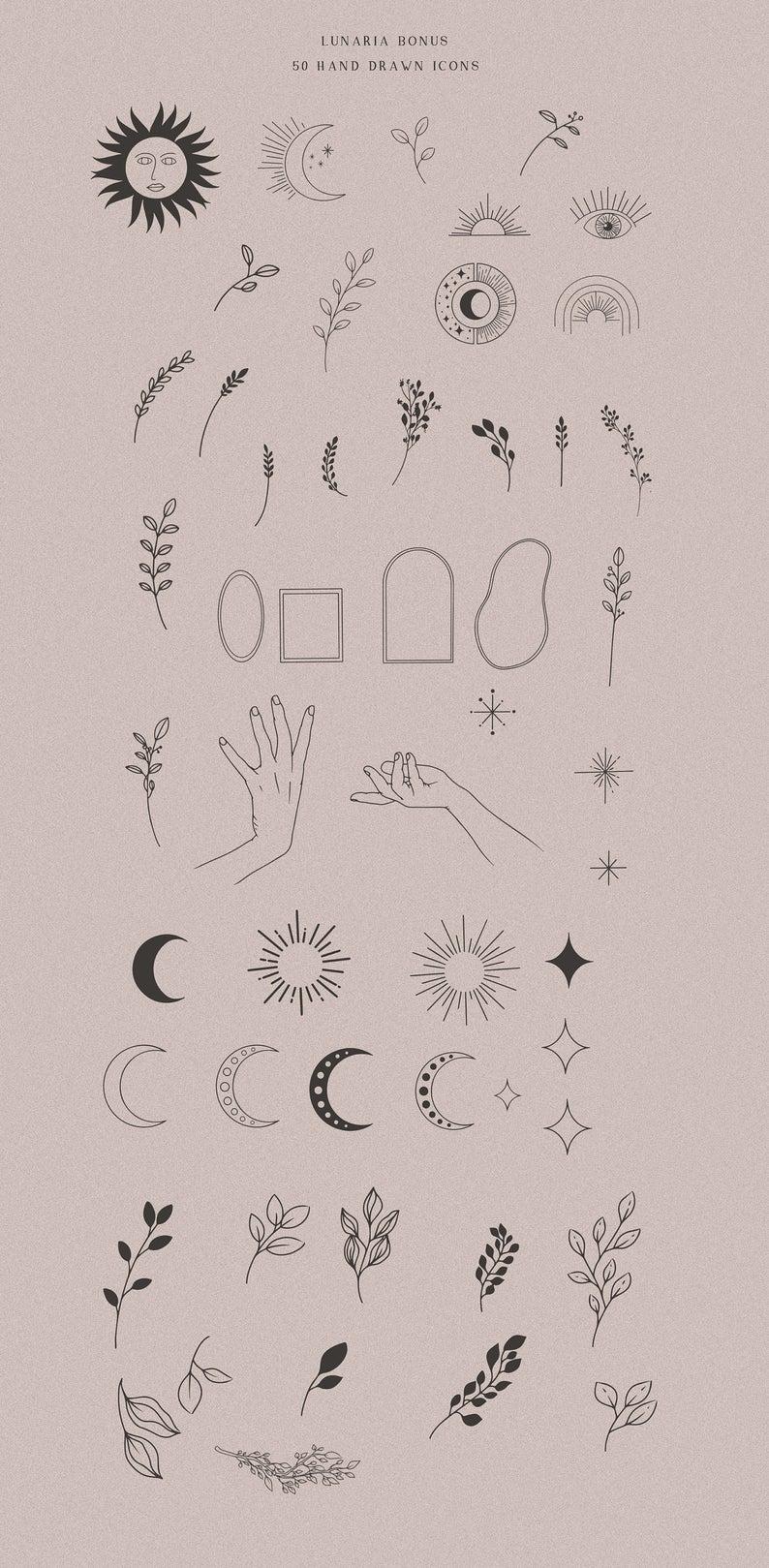 Fine art alchemy symbol zodiac esoteric moon clipart hand | Etsy