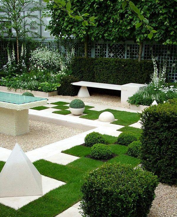 tisch mit gläserner oberfläche und gras formen - Gartengestaltung - pflegeleichter garten anlegen