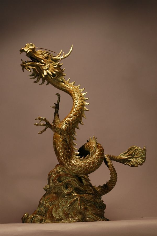 Lucky Dragon Writhing Oriental Chinese Statue By Kathleen Friedenberg Dragon Sculpture Dragon Statue Statue