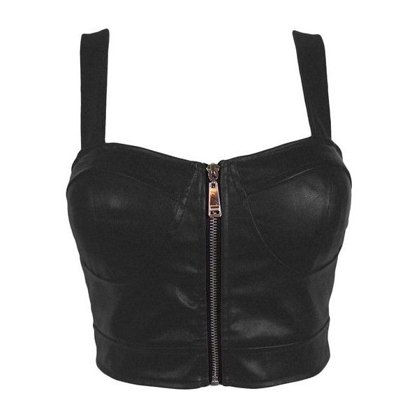 Faux Leather Zip Front Padded Cups Bustier Bralet PU Party Crop Top...  (5.110 HUF) ❤ liked on Polyvore featuring tops 7bd913e152