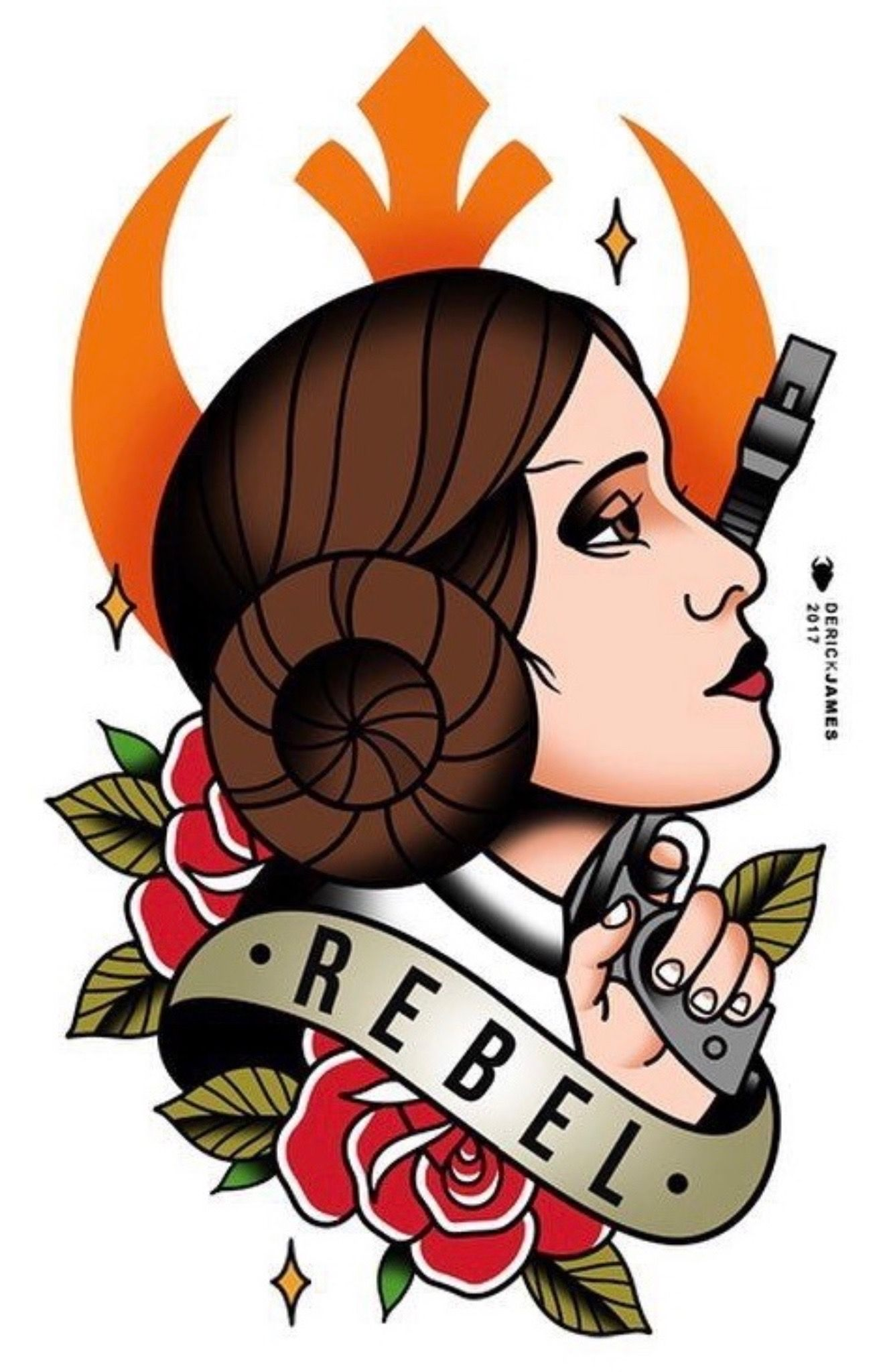 Princess Leia Tattoo Flash By Derick James Princess Leia Tattoo