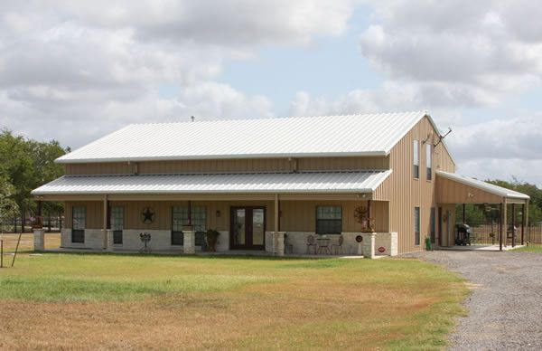 Beautiful full metal barndominium home w 3 porches hq for Metal houses texas