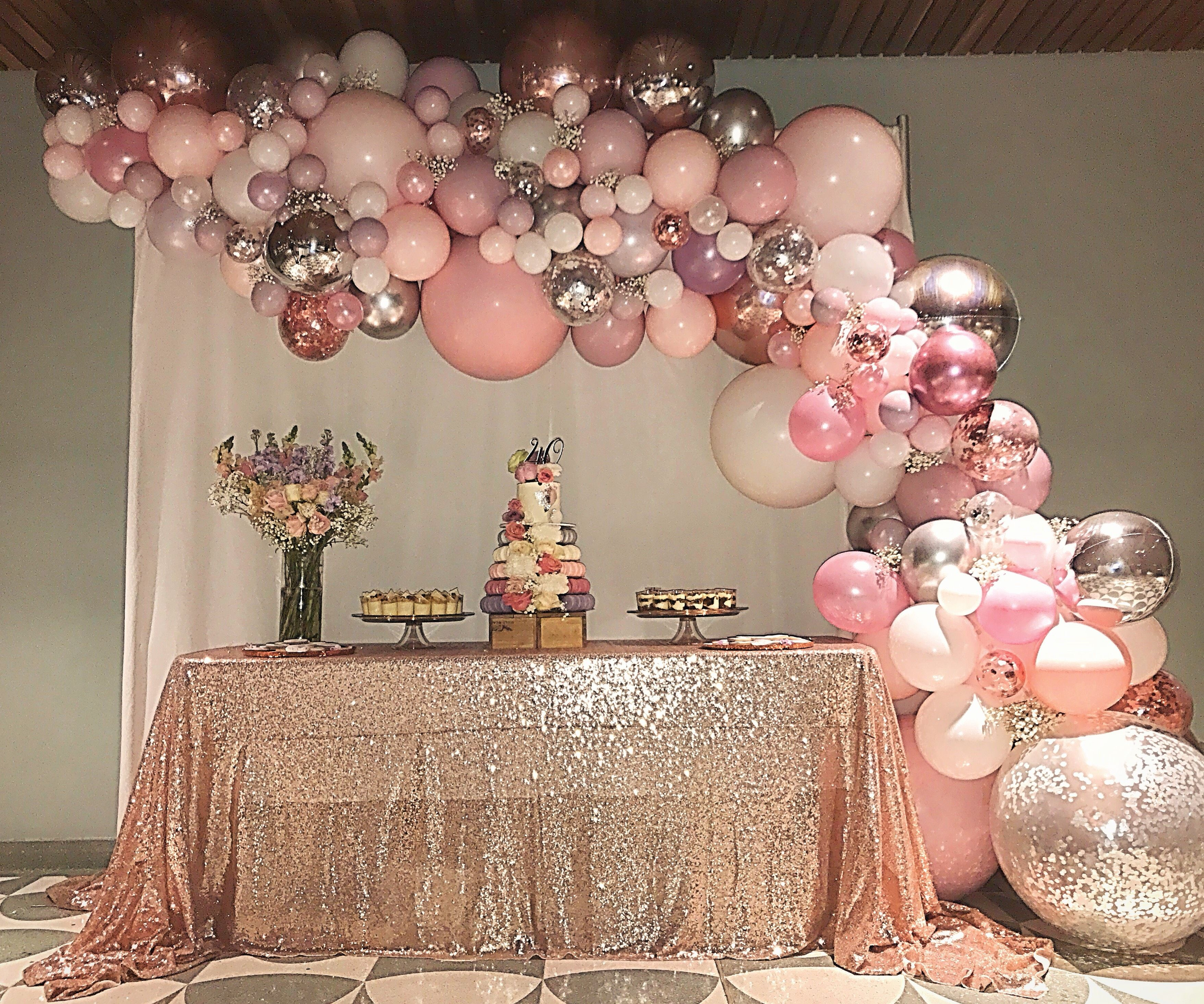 Pink, Lavender, Rose Gold And Silver 40th Birthday Dessert