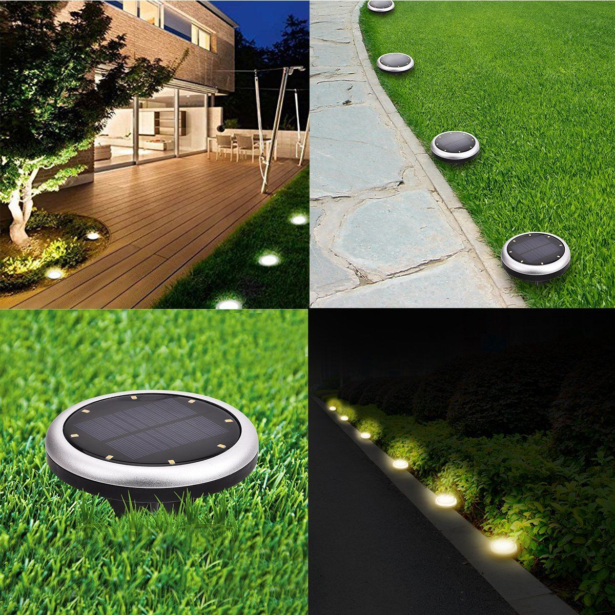 New Arrival Solar Ground Led Light 8 Leds Supper Bright Perfect For Garden Lawn Yard Ed