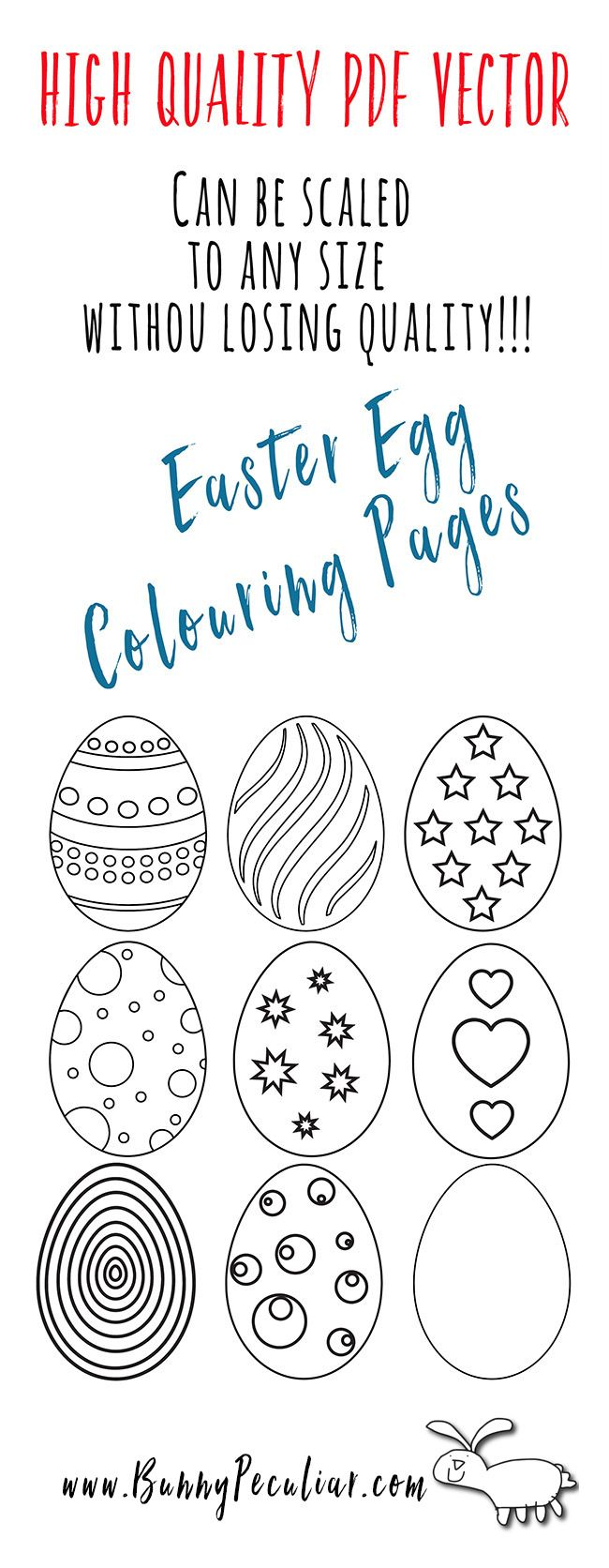 Easter Egg Coloring Pages Free And Scalable To Any Size | Easter ...