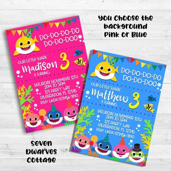 Baby Shark Birthday Invitation Printable By Seven Dwarves Cottage 999 You Pick Either Pink Blue Green Or Purple Background