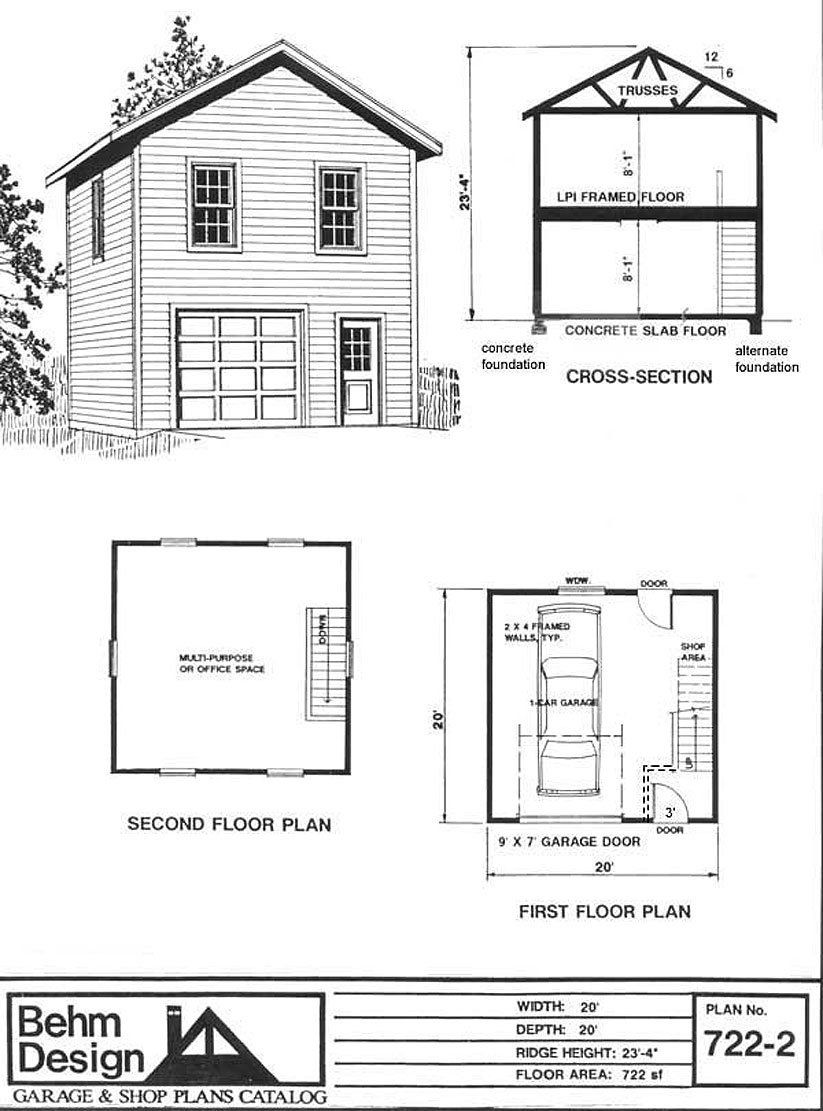 Garage plans one car two story garage plan 722 2 4 4 for Engineered garage plans