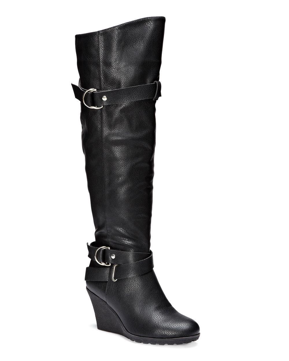 high wedge boots wide calf wide width